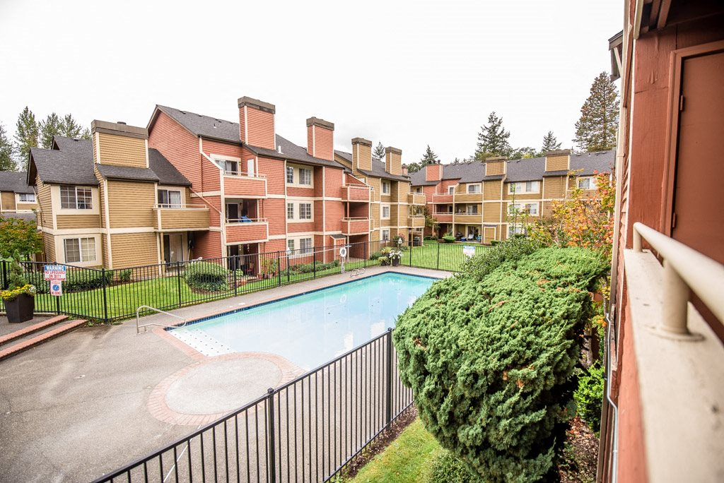 Tacoma Apartments - Sienna Park Apartments - Pool, Rear Exteriors, and Deck