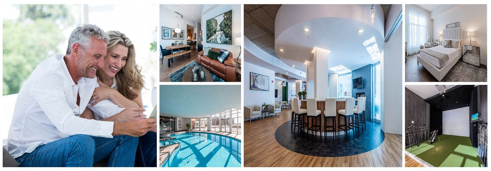 Collage of La Voile Pointe-Claire apartments and amenities in Pointe-Claire, Quebec