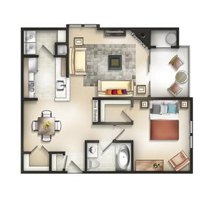 Floor plan at The Residences at the Manor Apartments, Frederick, 21702