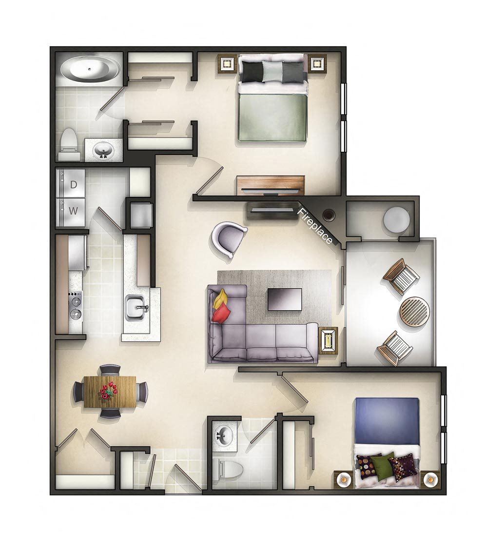Floor plan at The Residences at the Manor Apartments, Maryland