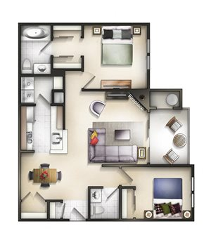 Floor plan at The Residences at the Manor Apartments, Frederick