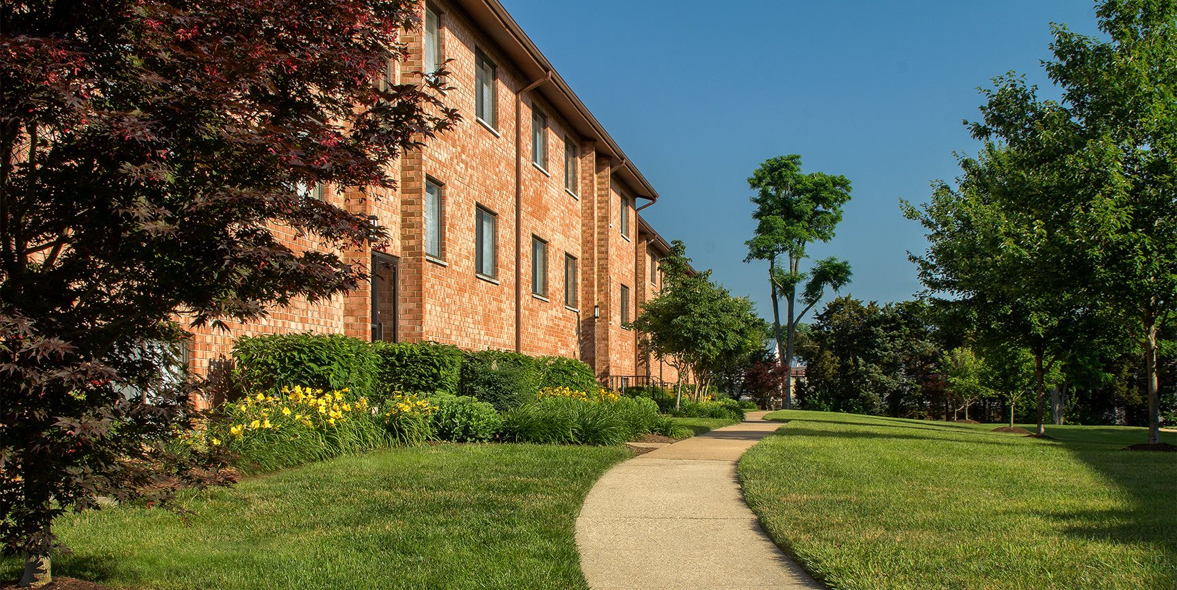 pathway on exterior for apartment complex