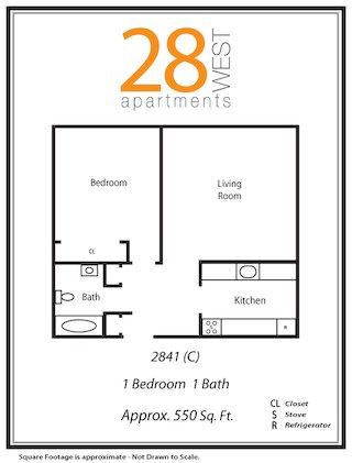 One Bedroom C Floor Plan 3