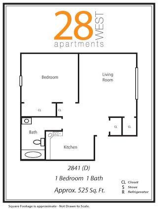 One Bedroom D Floor Plan 4