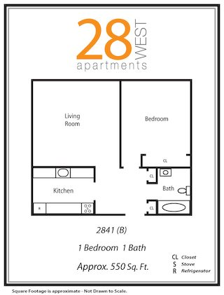 One Bedroom B Floor Plan 2