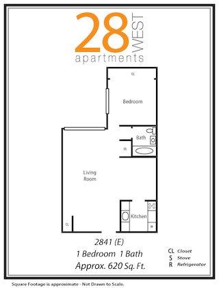 One Bedroom E Floor Plan 5