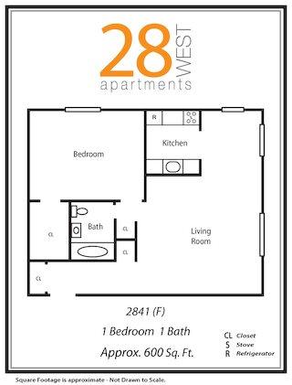 One Bedroom F Floor Plan 6