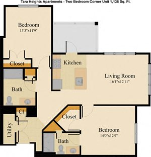 Two Bedroom Corner Unit