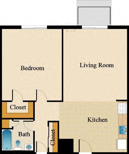 One Bedroom Deluxe Upgraded Floor Plan 8