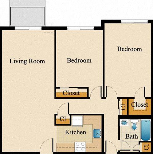Two Bedroom Deluxe Upgraded Floor Plan 3
