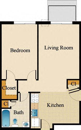 One Bedroom Standard Upgraded Floor Plan 1