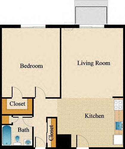One Bedroom Deluxe Floor Plan 4