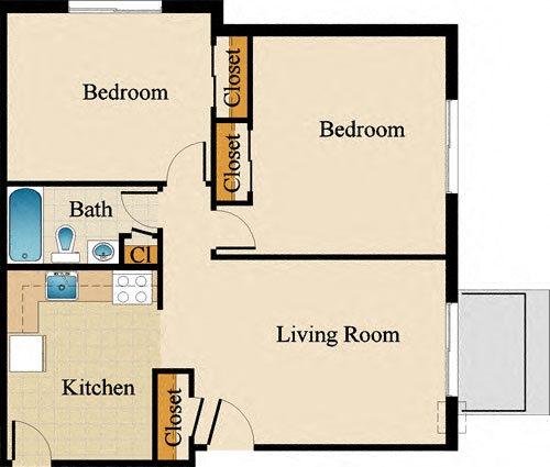 Two Bedroom Standard Floor Plan 7