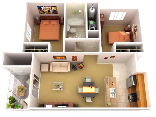 2A 2 Bedroom 1 Bathroom Floor Plan