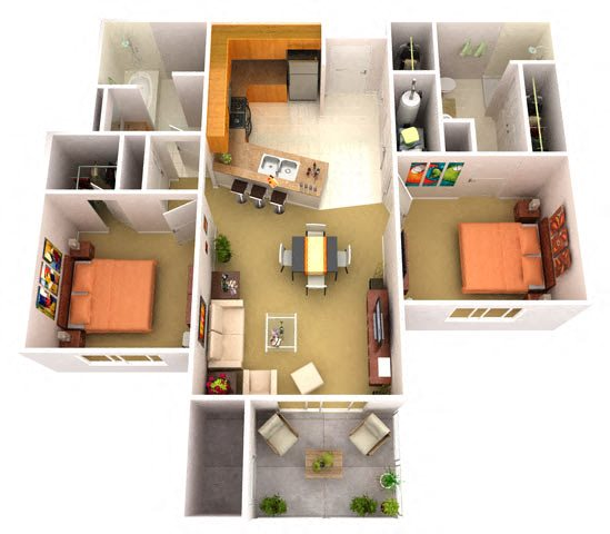2B 2 Bedroom 2 Bathroom Floor Plan