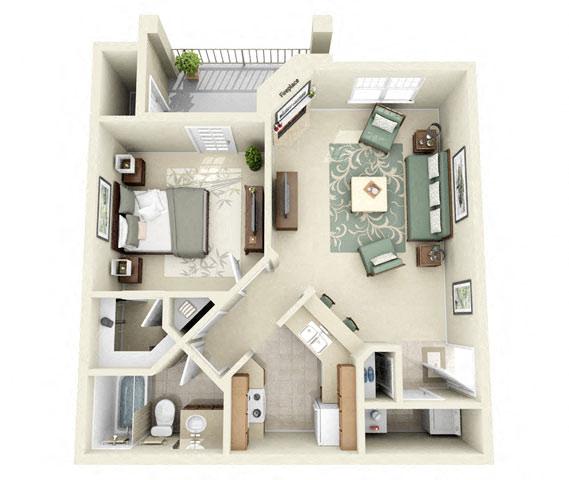 Calder One Bedroom Floor Plan 3D Image