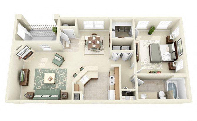 Derby One Bedroom Floor Plan 3D Image