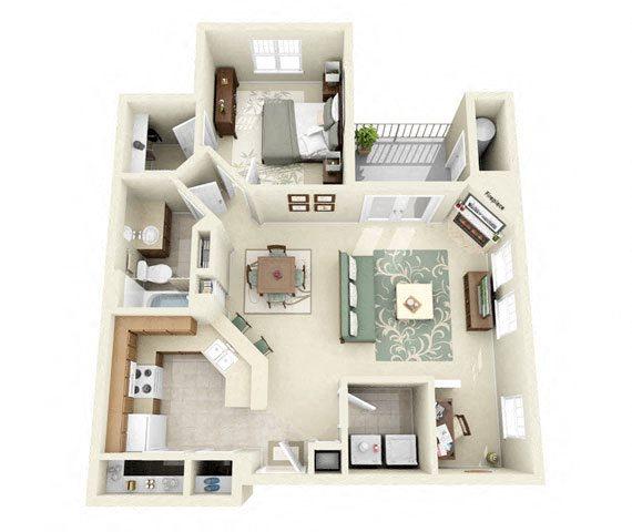 Drysdale One Bedroom Floor Plan 3D Image