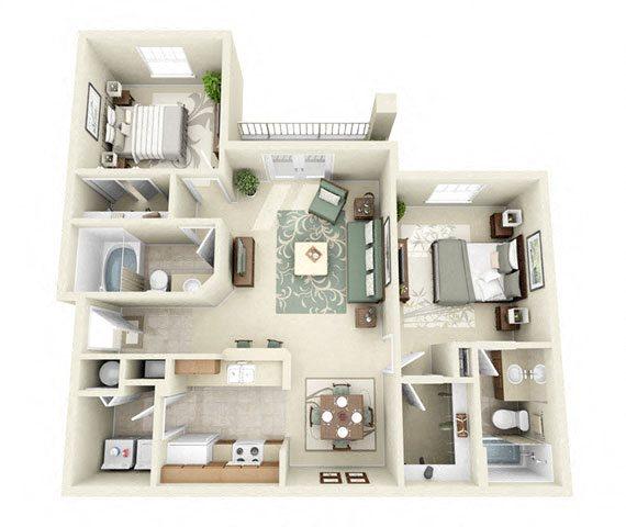 Steeplechase Two Bedroom Floor Plan 3D Image