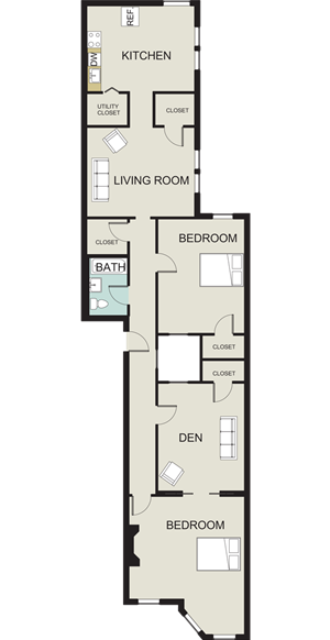 2 bedroom, 1 bath with den