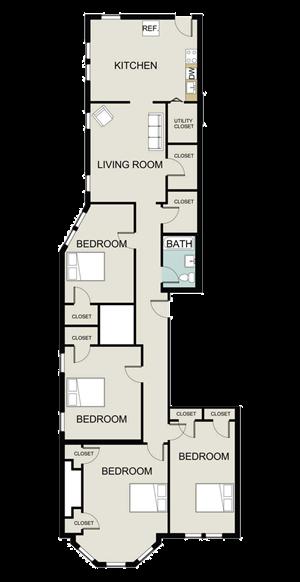 4 bedroom, 1 bath