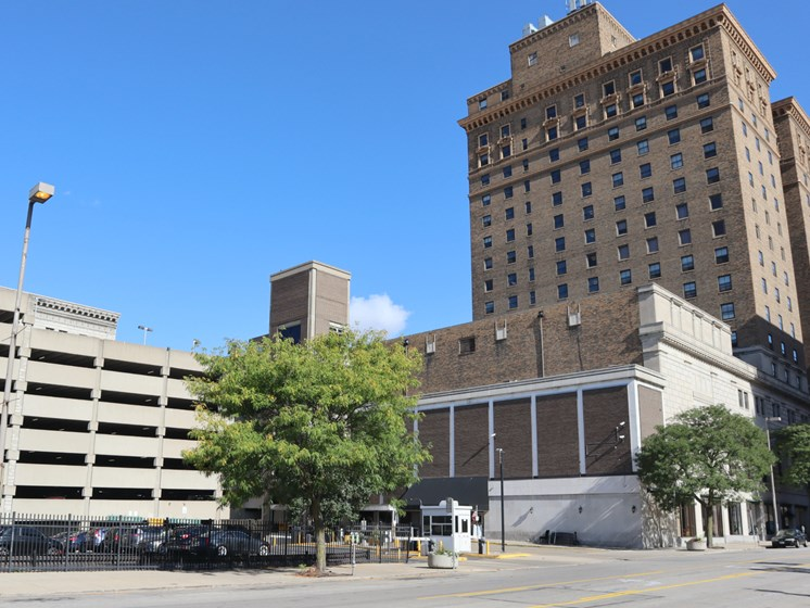 Ample Garage Parking at Commodore Perry Apartments in Downtown Toledo, OH