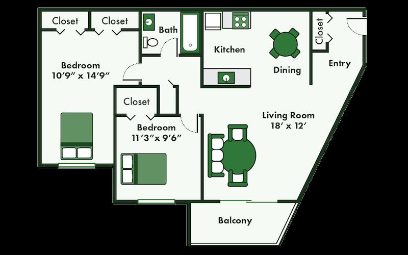 floor plan of 2 bedroom apartments