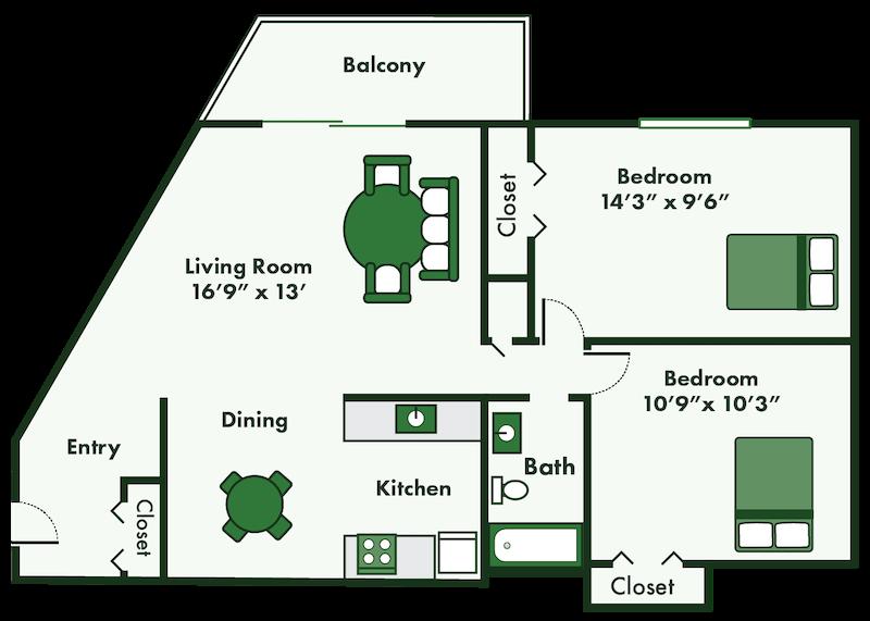 two bedroom apartment floor plan