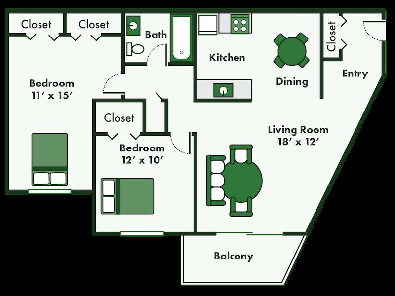 2 bed apartment floor plan
