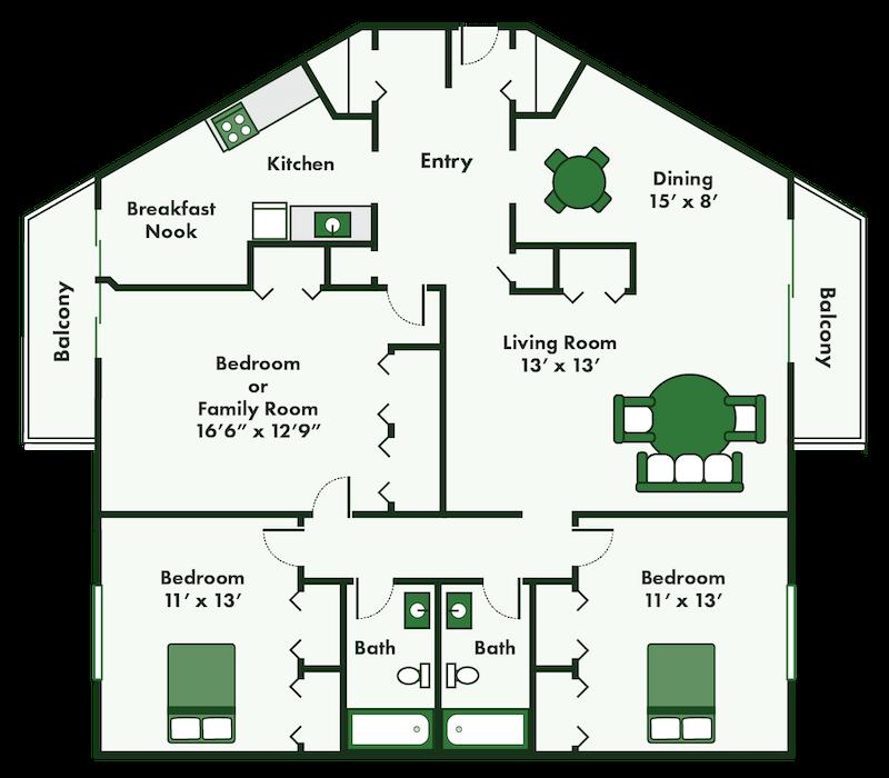 floor plans of three bedroom apartment