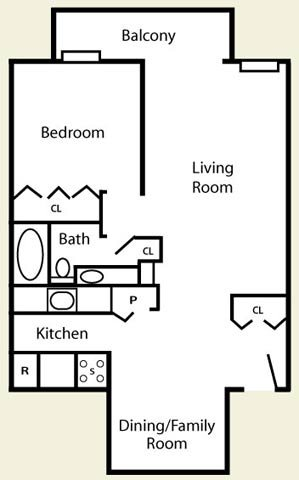 1 Bedroom + Dining