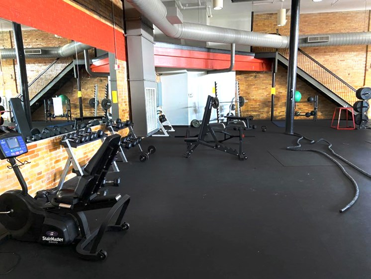 Spacious fitness center at Bricks Lofts