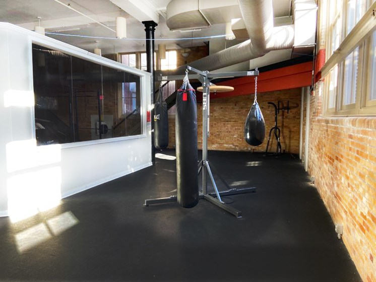 Boxing area in fitness center