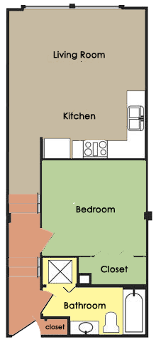 Plan A - 1 BED 1 BATH Floor Plan 1