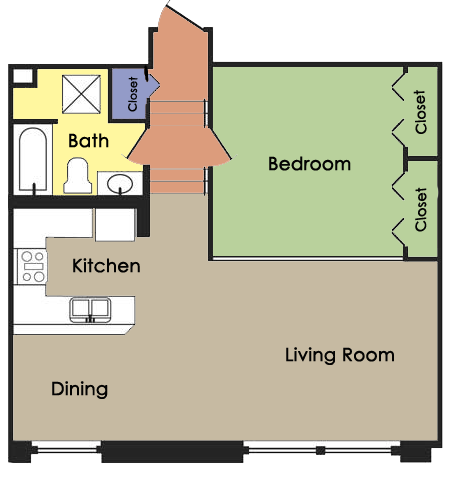Plan B - 1 BED 1 BATH Floor Plan 2