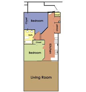 Plan C - 2 BED 1 BATH