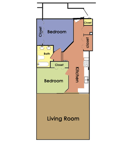 Plan C - 2 BED 1 BATH Floor Plan 3