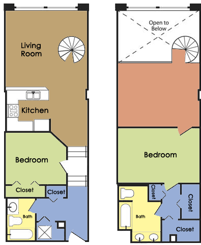 Plan E - 2 BED 2 BATH Floor Plan 5