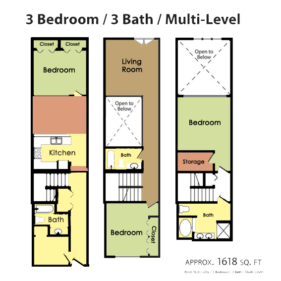 Plan H - 3 BED 3 BATH Floor Plan 6