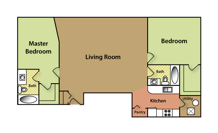 Plan D - 2 BED 2 BATH Floor Plan 4