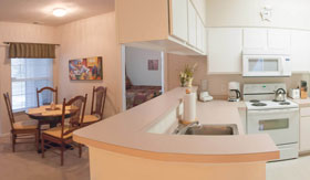 Kitchen and Dining Rooms of apartments in Norton Shores