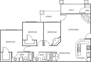 Large Three Bedroom Floor Plans at Shoreline Landing Apartments in Norton Shores MI
