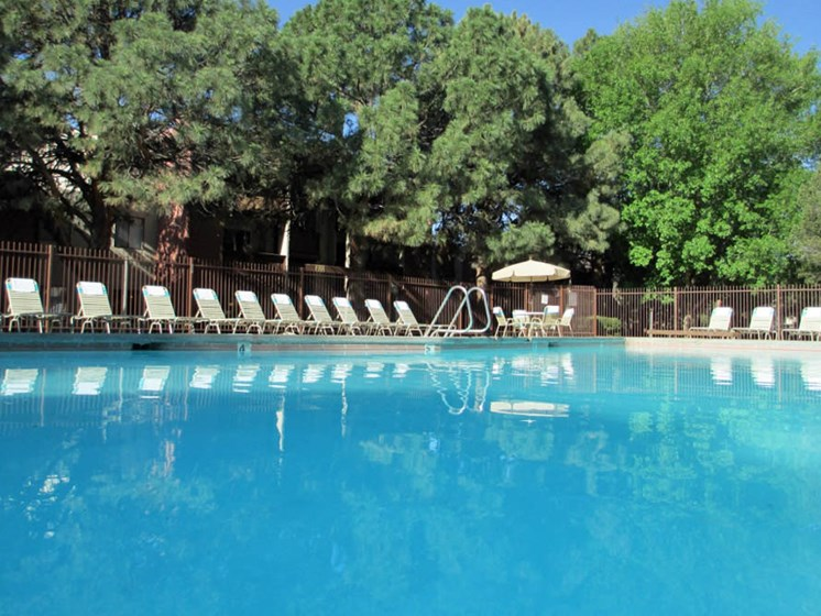 Sparkling pool at Mission Hill Apartments in Albuquerque New Mexico
