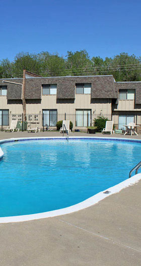Relax by the pool at Knollwood Apartments in Kansas City