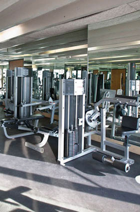 Weight room at apartments in Milwaukee