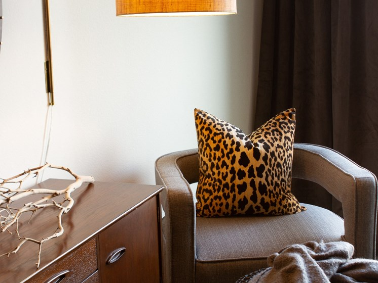 apartment side chair and lamp