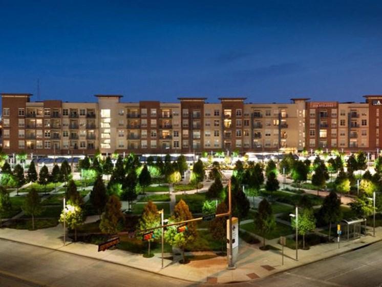exterior property building at night
