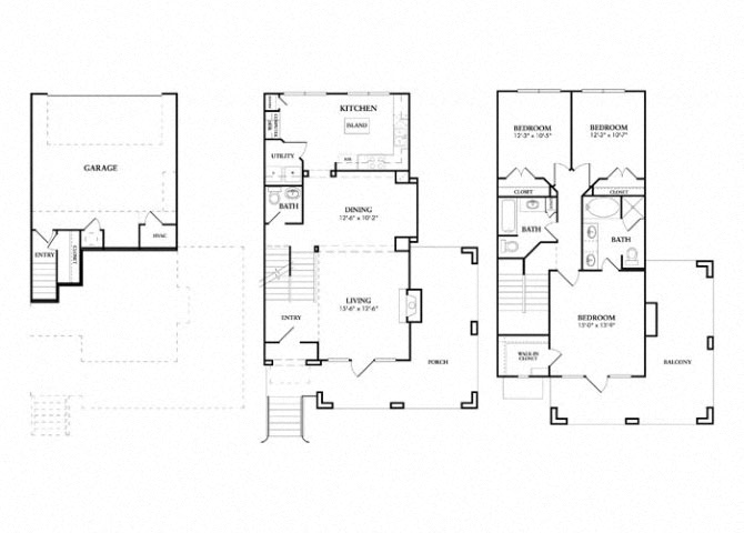 Wynden Townhome with Garage floor plan.