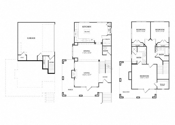 Yorkchester Townhome with Garage floor plan.