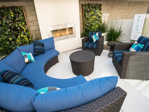 Outdoor fire pit with couch